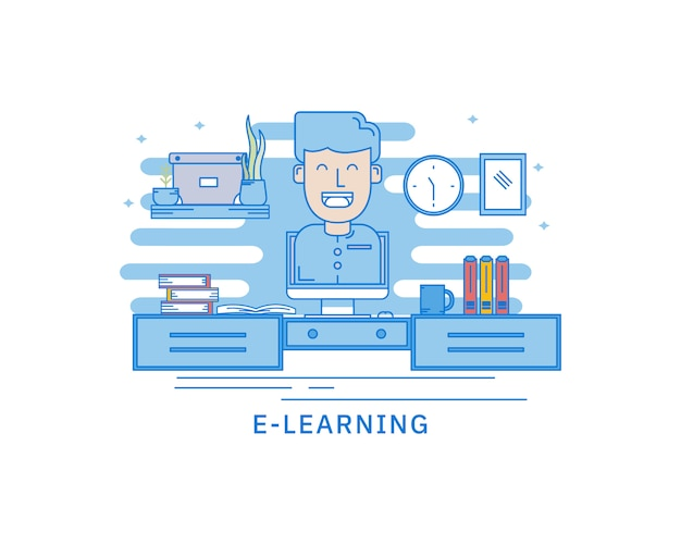 Concept of e-learning mobile library web page concept