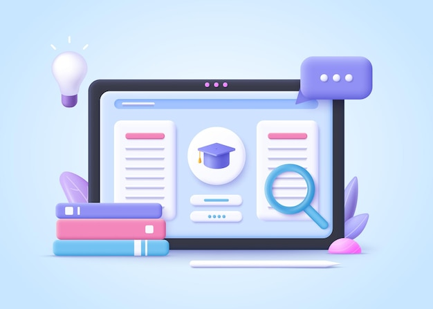 Concept of e-learning, online education at home.  3d realistic vector illustration.