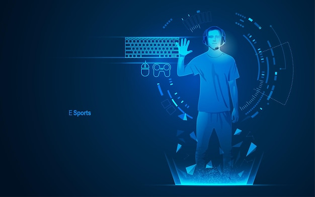 Concept of e sport technology, graphic of a teenager as a gamer with futuristic element