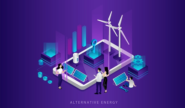 Concept of eco technologies. men, women use alternative energy sources. friendly renewable energy saving. power plant station with solar panels, windmill turbines.