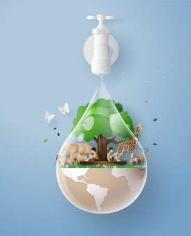 Concept of eco and wolrd water day .