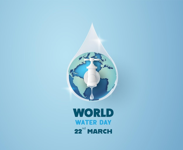 Concept of ecology and world water day . paper art ,paper cut , paper collage style with digital craft .