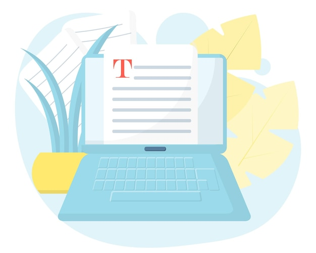 Concept of editable online document creative writing storytelling copywriting online learning
