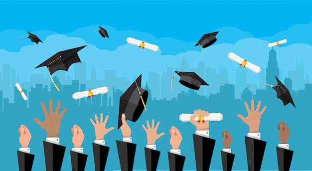 Concept of education. college, university ceremony