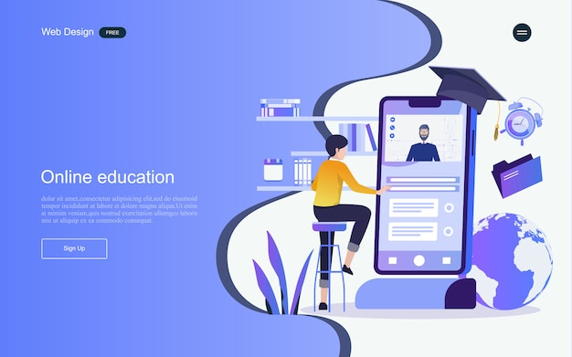 Concept of education for online learning, training and courses. landing page template.
