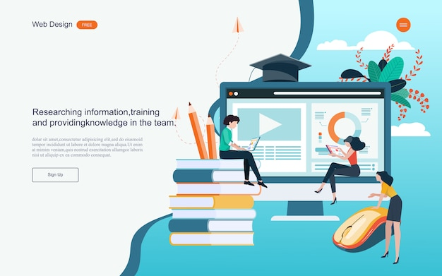 Concept of education for online learning, training and courses.