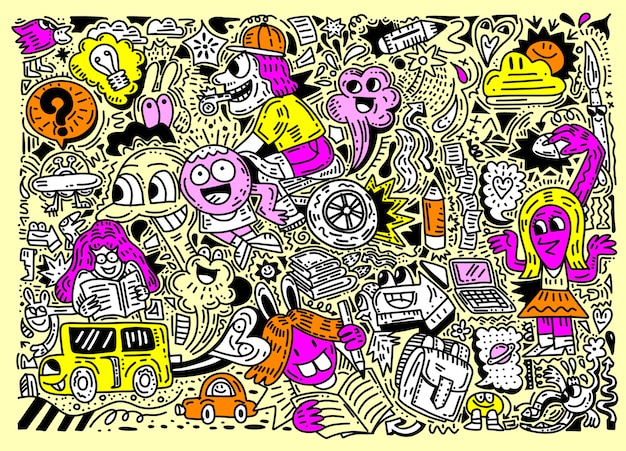 Concept of education. school background with hand drawn school supplies , funny doodle style