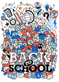 Concept of education. school background with hand drawn school supplies with  back to school lettering in pop art style