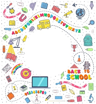 Concept of education. school background with hand drawn school supplies.
