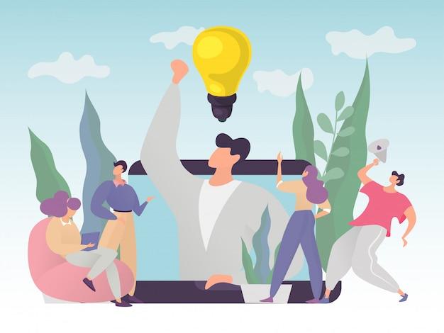事業を成功させるためのアイデアを見つけ、問題を解決するための効果的なコラボレーションのコンセプト、イラスト。