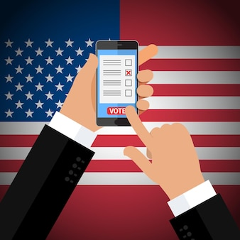 Concept of election. hand holding smartphone with voting app on the screen. flat design,   illustration.