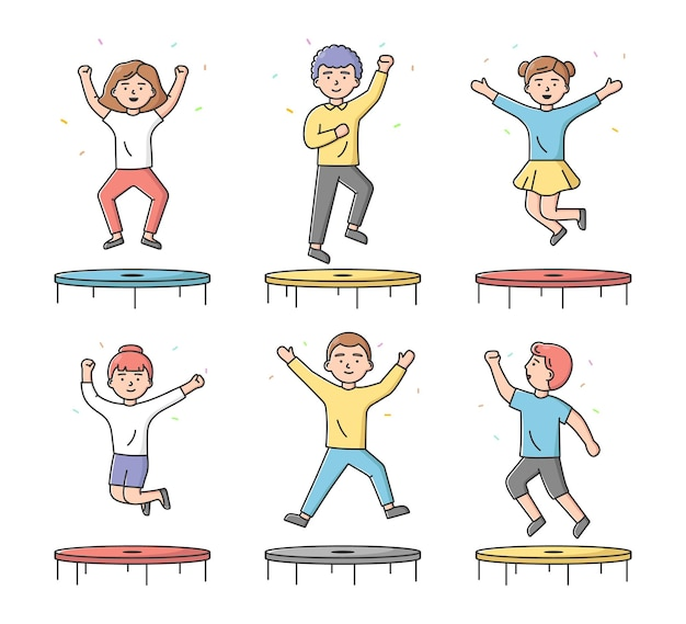 Concept of entertainments and sport. set of teens boys and girls jumping on trampoline in the activity park or gym. characters have a good time.