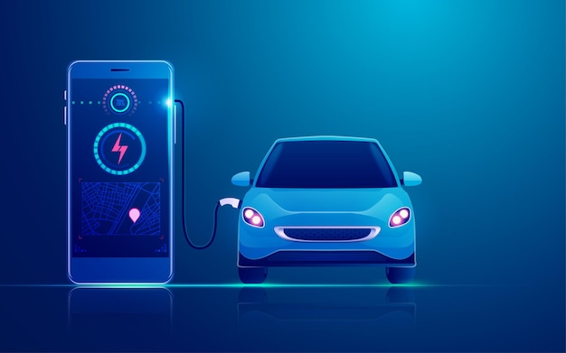 Concept of ev charger station application on mobile, electric car charging by mobile phone