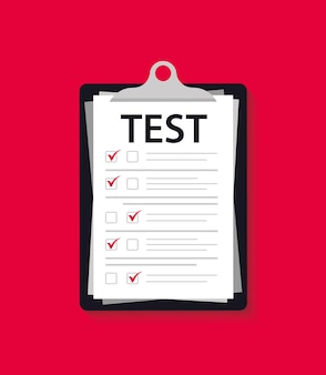 Concept exam, survey, testing. test form with clipboard. test mark on a folder. examining. passing the knowledge test and exam. iq test. online survey. checklist, internet surveying list, test form