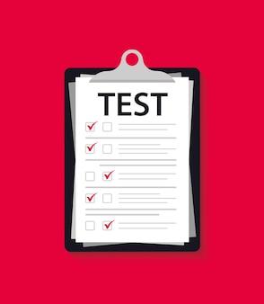 コンセプト試験、調査、テスト。クリップボードを使用してフォームをテストします。フォルダのテストマーク。調べます。知識テストと試験に合格する。 iqテスト。オンライン調査。チェックリスト、インターネット調査リスト、テストフォーム Premiumベクター