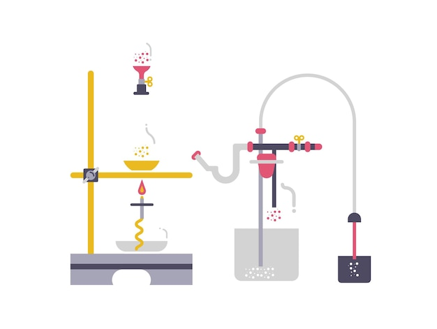 The concept experiments with the chemical equipment. web banner conducting chemical experiments.