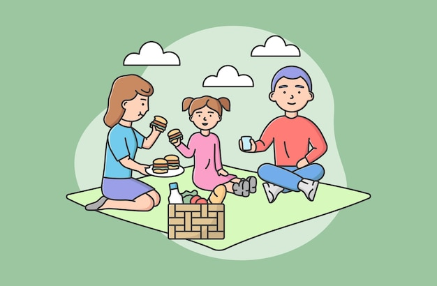 Concept of family joint spending time. happy family rest at picnic. people sitting on blanket, eating hamburgers, have good time together on vacations. cartoon linear outline flat vector illustration.