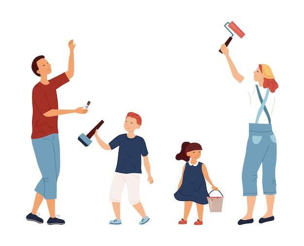 Concept of family spending time and home renovation. father, mother daughter and son repair home. mother is holding roller for painting, kids help parents to repair. cartoon flat vector illustration.