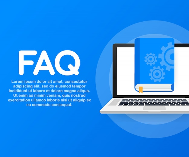 Webページ、バナー、ソーシャルメディアのコンセプトfaqブック。