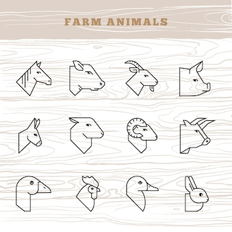 Concept of farm animals. vector icon set in a linear style of farm animals silhouettes