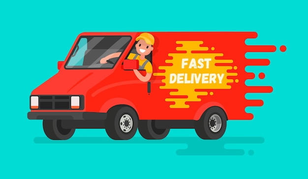 Concept of fast delivery of goods illustration