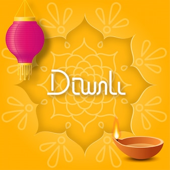 Concept festive diwali with paper rangoli, hanging pink paper lantern and oil lamp diya on yellow background for poster or card