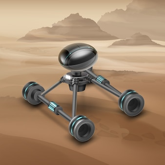 Concept of fictional mars rover vehicle with desert on background