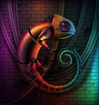 Concept of fictional multicolored robot reptile chameleon