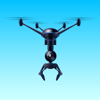 Concept of fictional quadcopter flying drone with claw isolated on blue background