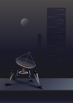 Concept of fictional quadruped robot with parabolic satellite dish on futuristic background