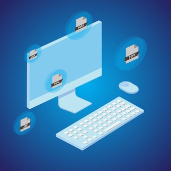 Concept of file converting with computer. isometric style. vector.