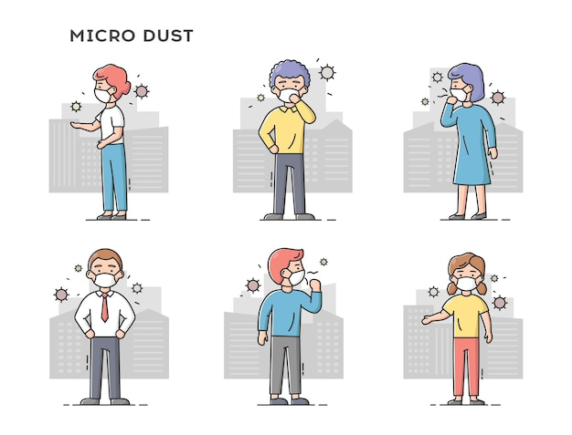 Concept of fine dust, air pollution, industrial smog. set of sad people wearing protective masks. men and women on polluted cities.