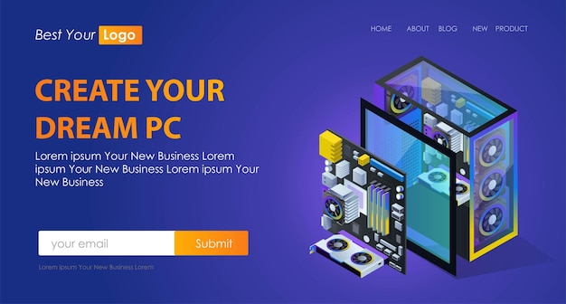 The concept of flat isometric illustrations pc components and motherboards