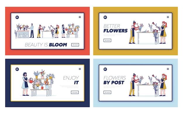 Concept of florist profession website landing page