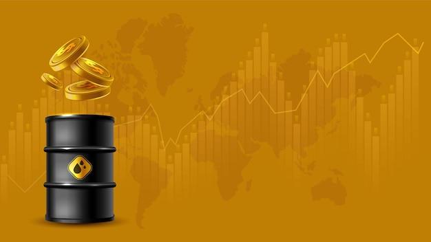 유가 및 교환 무역 배경의 개념 변동