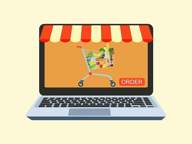온라인 상점 및 온라인 음식 주문 서비스에 대한 개념입니다. 컴퓨터와 장바구니. 벡터 일러스트 레이 션.