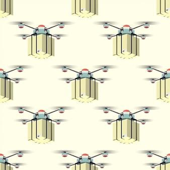配信サービスのコンセプトです。パッケージ付き配送ドローンのパターン。ベクトルイラスト。