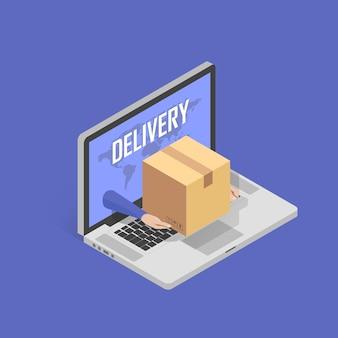 빠른 온라인 배달 서비스에 대한 개념입니다. 메신저 손이 노트북 화면에서 패키지 상자를 제공합니다. 아이소메트릭 그림 벡터입니다.