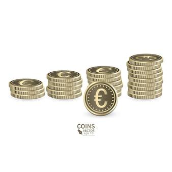 経済成長の概念。グラフを上げるとコインの山が増えます。