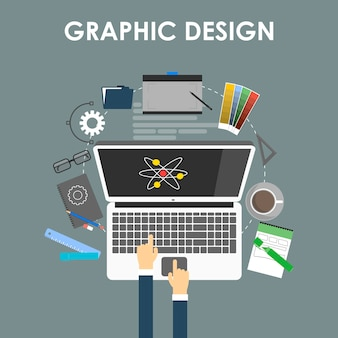 グラフィックデザイン、デザイナーツール、およびコンピューターで囲まれたデザイナー機器と機器を備えたフラットデザインのソフトウェアのコンセプト。