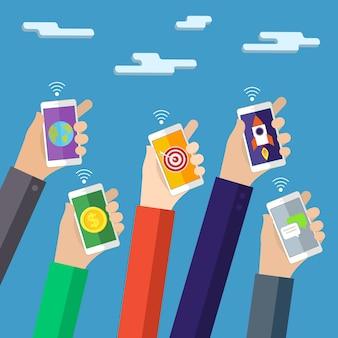 Концепция мобильных приложений плоский дизайн иллюстрации