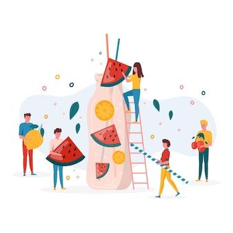 夏のパーティーのコンセプトで、人々は果物とレモンの入ったボトルに入ったスイカジュースを飲んで準備します。ビーガンフルーツとヘルシーなデトックスカクテル。飲み物、バーのビタミンアイスシェイク。トレンディなベクトル。