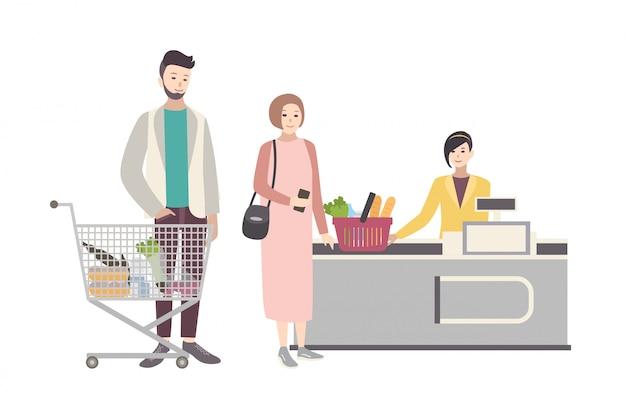 スーパーマーケットやショップのコンセプト。レジ、買い物カゴを持つ人々の近くのバイヤーのキャラクターのイラスト。