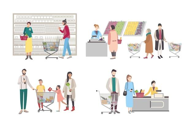 スーパーマーケットやショップのコンセプト。レジ、棚の近く、計量品、ショッピングカートを持っている人にバイヤーのキャラクターをセットします。コレクションのベクトル図です。
