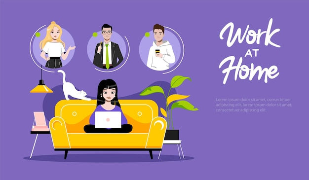 Concept of freelance remote work. website landing page. girl freelancer typing on laptop. woman communicate with friends on internet. web page cartoon linear outline flat style. vector illustration.
