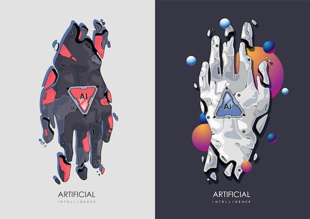 개념 미래 ai 비즈니스 그림입니다. 로봇 손, 인공 지능 개념. 현대 그림.