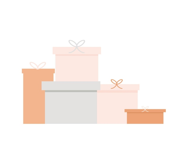 Concept of gift boxes standing next to each other design. web banner a type of gift boxes vector.