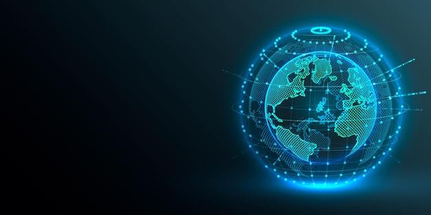 Концепция глобальной планеты земля точка черный фон Premium векторы