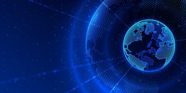 Концепция глобальной планеты земля точка черный фон