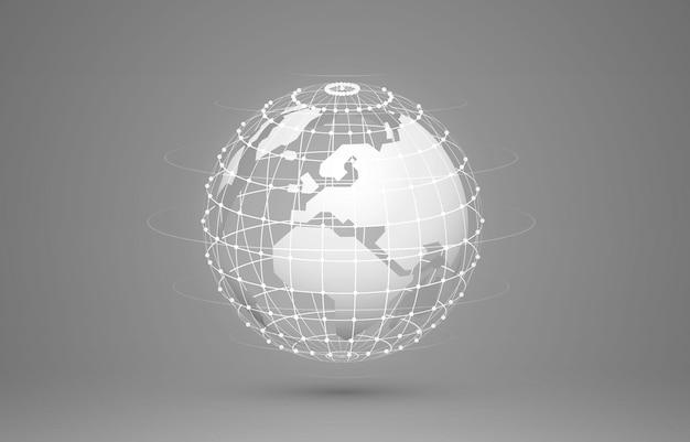 Концепция глобальной планеты земля точка серый фон